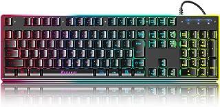 ゲーミングキーボード 有線 usb有線キーボード Windows/Mac OS対応 PC対応 25キー防衝突 106キー日本語配列 1680万色RGBバックライト 日本語説明書付き 防水 耐久性あり 6種類LED色変え 一年間メーカー保証(ブラック)