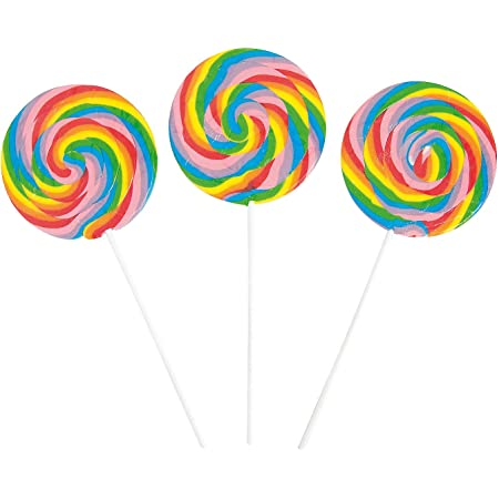 Large Rainbow Swirl Lollipop Suckers (6 jumbo pops) Cherry Flavored and Individually Wrapped Candy