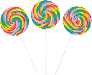 Large Swirl Lollipops (Big 4 Inch Candy Suckers) 6 Cherry Flavored Pieces