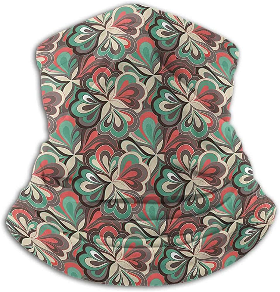 Neck Gaiters For Men Floral Sun Dust Bandanas For Fishing Motorcycling Running Colorful Flower Petals Damasko Style Mixed Tones Shabby Chic Design Umber Dark Coral Teal Cream