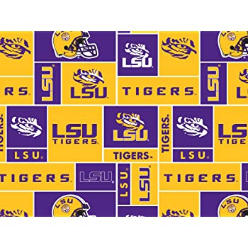 Collegiate Cotton Broadcloth Louisiana State University Fabric By The Yard