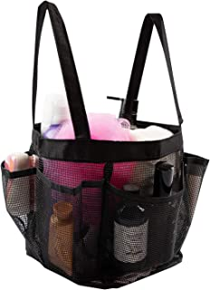 Mesh Shower Caddy Tote With 8 Mesh Storage Pockets, Quick Dry Tote Bag, Oxford Hanging Toiletry and Bath Organizer For Gym Dorm athroom Shower Caddy Accessory Case Washing Bag With Handles - Black