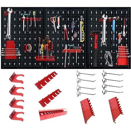 LZQ Panel perforado para herramientas, de metal, con 17 ganchos, 120 x 60 x 2 cm, color negro y rojo