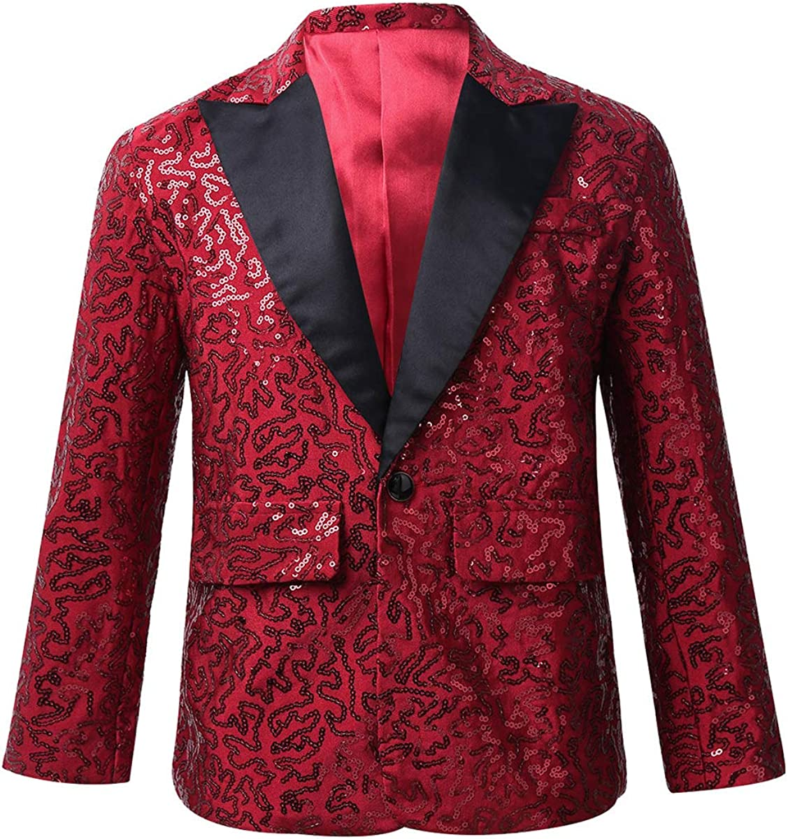 TiaoBug Boys' Classic Blazer Jacket Sequins Lapel One Button Coat Wedding Banquet Birthday Party Tuxedo Formal Suit Set