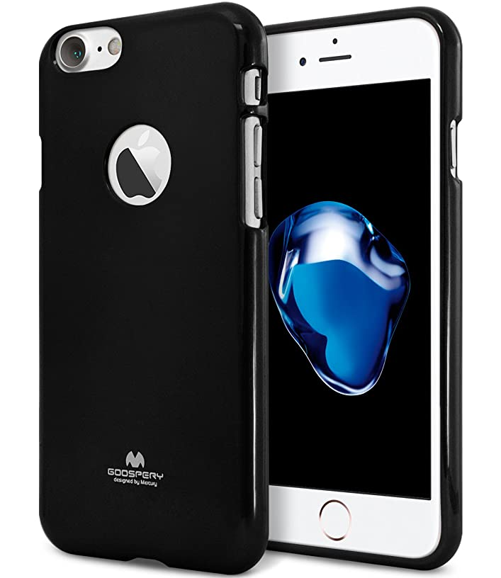 iPhone 7 Case, [Thin Slim] GOOSPERY [Flexible] Color Pearl Jelly Rubber TPU Case [Lightweight] Bumper Cover [Impact Resistant] for iPhone 7 (Black) IP7-JEL-BLK