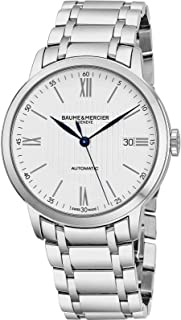 Baume & Mercier Classima Mens Automatic Watch - 40mm Analog Silver Face with Second Hand, Date and Sapphire Crystal Swiss Made Watch - Metal Band Stainless Steel Luxury Dress Watches For Men 10215