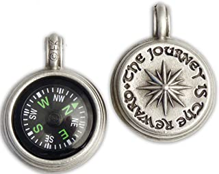 mens working compass necklace