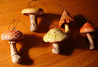 6 Realistic Mushroom Toadstool Fairy Garden Ornament Set Lodge Home Decor