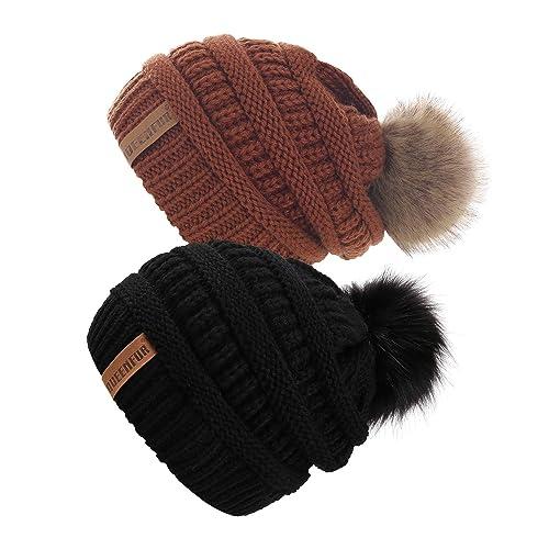 03c97bbf73c QUEENFUR Women Knit Slouchy Beanie Chunky Baggy Hat with Faux Fur Pompom  Winter Soft Warm Ski