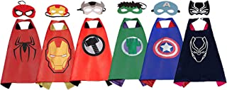Superhero Dress Up Costume,6 Set of Double-Sided Satin Capes with Felt Masks for Kids