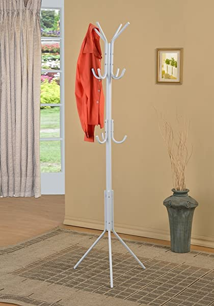 White Finish Metal 3 Tier Coat Rack Hat Purse Display Stand Hall Tree With 11 Hooks