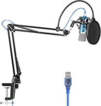 Neewer USB Microphone for Windows and Mac with Suspension Scissor Arm Stand, Shock Mount, Pop Filter, USB Cable and Table Mounting Clamp Kit for Broadcasting and Sound Recording (Blue and Silver)