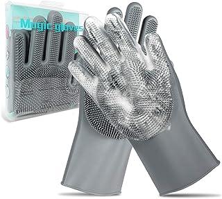 Pet Grooming Gloves - Gentle Dog Bathing Shampoo Brush - Massage Mitt with Enhanced Five Finger Design - Efficient Deshedd...