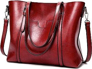 "UTO Women Tote Bag Top Handle Large Capacity 13.3"" Laptop Shoulder Purse Red"