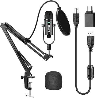 Kit de Micrófono, Odar Micrófono Condensador Profesional Estudio y Micrófono Grabación Ajustable Suspensión Brazo de Tijer...