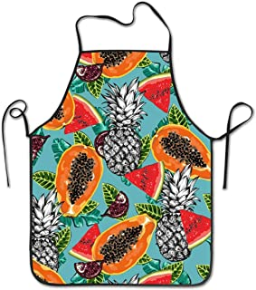 KDJGVM133 Bib Aprons for Woman Cooking Apron Color Fruits Chief Apron Home Easy Care for Kitchen, BBQ, and Grill