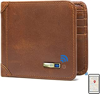 $34 » Smart Wallet Anti-Lost Bluetooth Tracker, Position Record (Via Phone GPS), Bifold Cowhide Leather Men Wallets Smart LB (Br...
