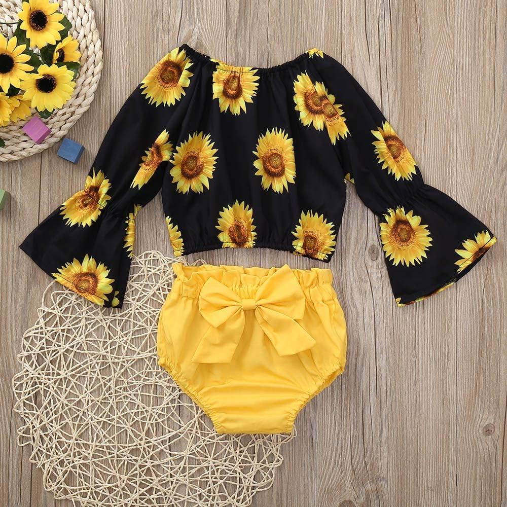 HGWXX7 Newborn Infant Baby Girls Sunflower Print Long Sleeve Tops Shirt+Bowknot Shorts Set Outfits