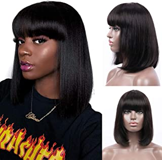Bob Wig With Bangs Halloween Wig Human Hair Machine Made Glueless None Lace Black Short Bob Wig for Women (14 inch)