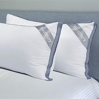 BedStory Lot de 2 Oreillers 60 x 60 cm, Oreillers en Microfibre de Haute Qualité, Oreiller Respirant avec Maille, 2 Oreill...