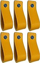 Brute Strength - Leren Handgrepen - Okergeel - 6 stuks - 16,5 x 2,5 cm - incl. 3 kleuren schroeven per leren handvat voor ...