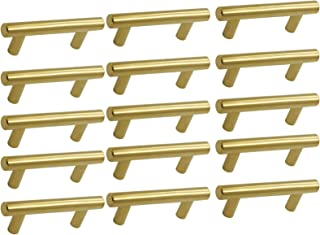 15Pack Gold Handles for Kitchen Cabinet Brushed Brass Drawer Pulls Knobs Stainless Steel Kitchen Hardware 2-1/2