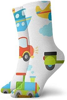 ONGH, Tipos de transporte abstractos para niños pequeños Coche Barco Camión Scooter Tren Calcetines de avión Calcetines de mujer y hombre Calcetines de fútbol Medias de tubo deportivo Longitud 11.8 pulgadas
