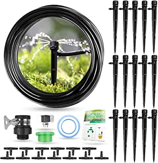 HIRALIY Drip Irrigation Kit, 50ft/15m DIY Plant Watering Kit with 1/4 Inch Blank Distribution Tubing Hose Adjustable Nozzles, Automatic Irrigation Set for Patio Lawn Garden Greenhouse Flower Bed
