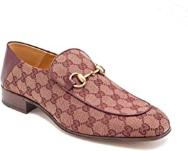 Gucci Men's Canvas GG Horsebit Loafer Shoes Burgundy