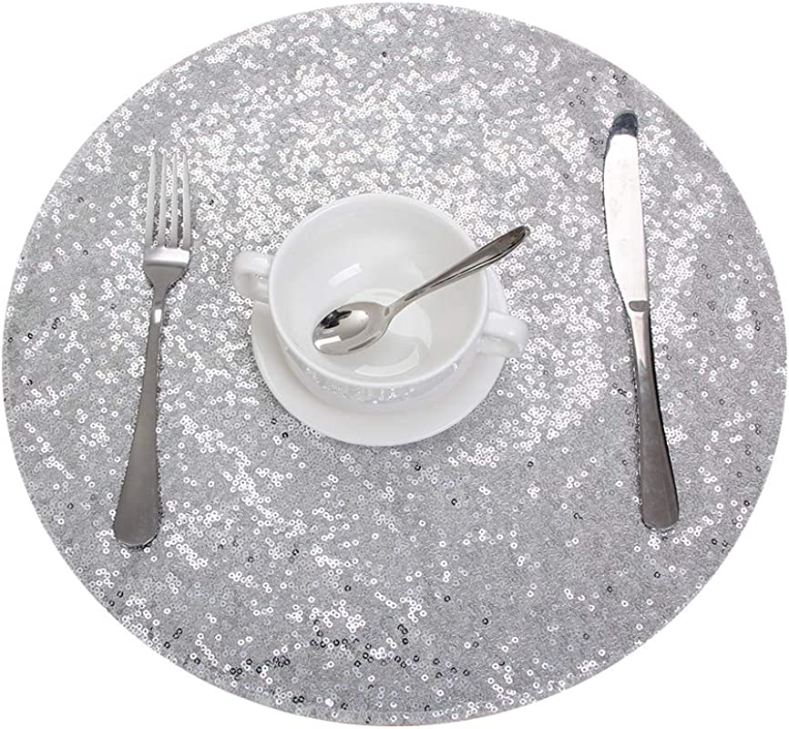 Eternal Beauty Sequin Placemats Set Of 4 Double Sided 15 Round Heat Resistant Table Mats For Table Or Kitchen Silver