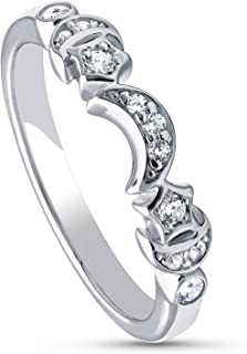 Rhodium Plated Sterling Silver Cubic Zirconia CZ Stackable Star Crescent Moon Anniversary Fashion Right Hand Band