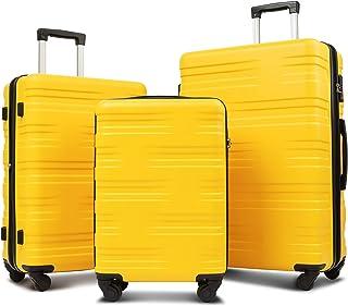 Flieks Luggage Sets TSA 3 Piece Spinner Suitcase Lightweight 20 24 28 inch (Yellow)