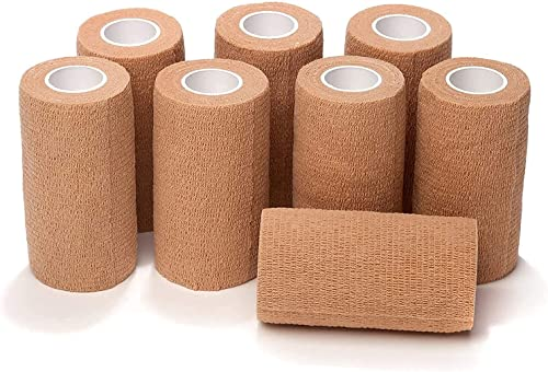 2021 Self Adhering Bandage Wrap (Bundle Pack of 8) | 3 Inch by 5 Yards Non Woven Self 2021 Adhesive Bandage Wrap | Brown Athletic Tape for Wrist, Hand and Ankle Tape | Premium-Grade Medical high quality Bandage Tape online sale