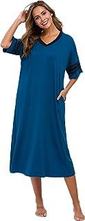 Womens Nightgown V Neck Cotton Knit Long Sleepwear Short...