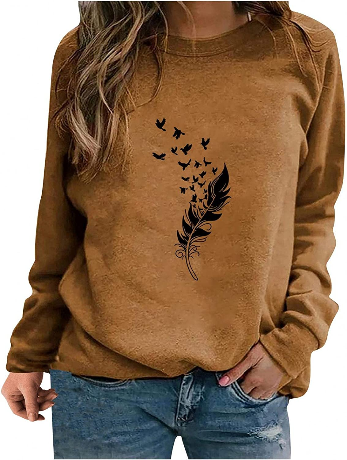 Sweatshirts for Women,Women Sweatshirt Plus Size Graphic Vintage Long Sleeve Feather Loose Shirts Casual Pullover