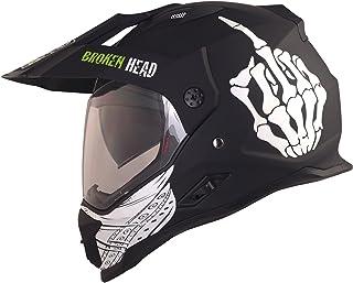 <h2>Broken Head Street Rebel Cross-Helm grün mit Visier - Enduro-Helm - MX Motocross Helm mit Sonnenblende - Quad-Helm L 59-60 cm</h2>