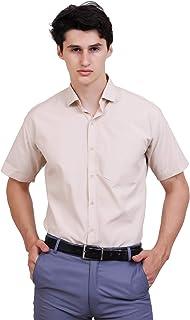 Appel Touch Men's Cotton Blend Formal Shirt Half Sleeves(Cream)