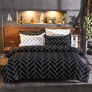 LINGE USINE Parure de draps pour lit de 160 x 200 cm 4 Pieces GEOMETRIQUE Marine Coton 57 Fils sup/érieur