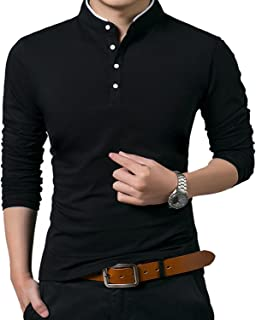 KUYIGO Men's Casual Slim Fit Shirts Pure Color Long Sleeve Polo Fashion T-Shirts