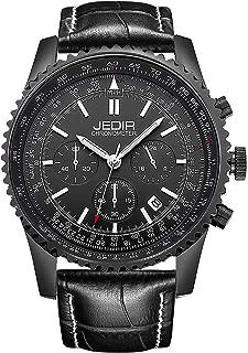 JEDIR Men Chronograph Watch Quartz Analog Wristwatches Black Dial with Date Window Black Calfskin Leather Band