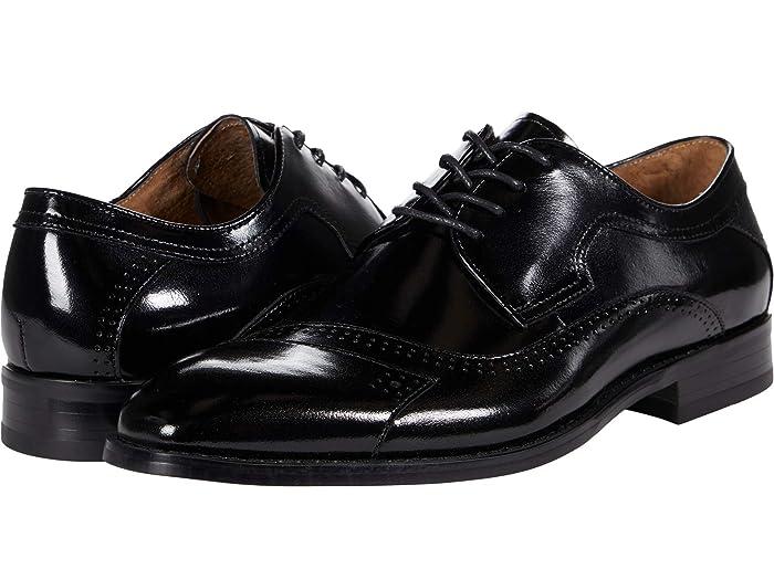 1970s Men's Clothes, Fashion, Outfits Stacy Adams Paxton Cap Toe Oxford Black Mens Shoes $124.95 AT vintagedancer.com