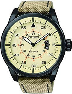 CITIZEN Mens Solar Powered Watch, Analog Display and Leather Strap - AW1365-19P