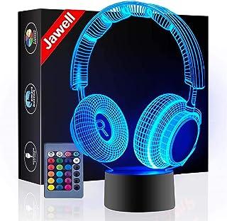 Kopfhörer 3D Illusion Lampe Weihnachtsgeschenk Nachtlicht Neben Tischlampe, Jawell 16 Farben Auto Ändern Touch Schalter Sc...