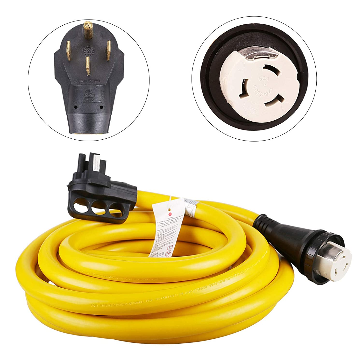 EPICORD 50 Amp Marine RV Power Cord with Hubbell Twist Lock Connector Detachable-30FT