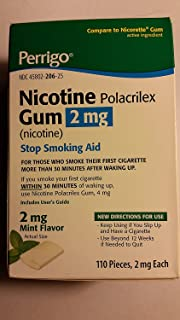 Perrigo Nicotine Polacrilex Gum, 2 mg, 110 pieces Mint Flavor - Stop Smoking Aid