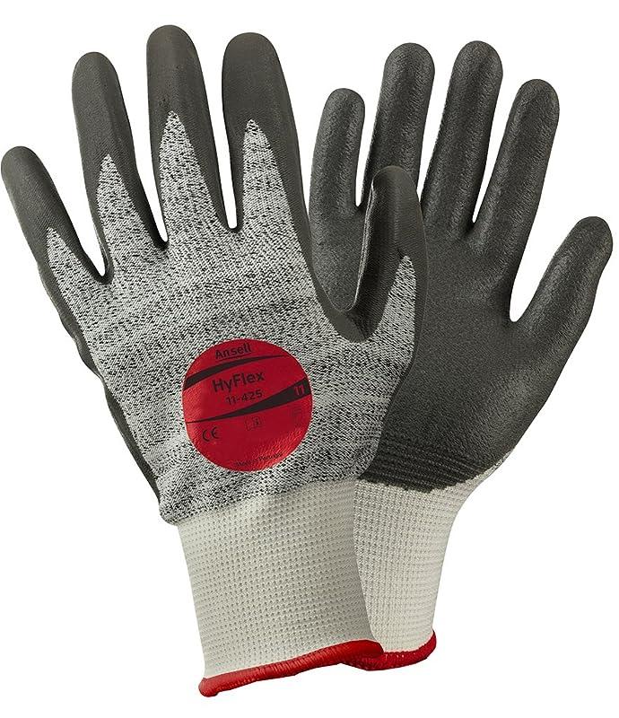 知覚する区画ビバAnsell HyFlex 11-425カット保護手袋、機械的保護、グレー、サイズ7(12ペアのパック)