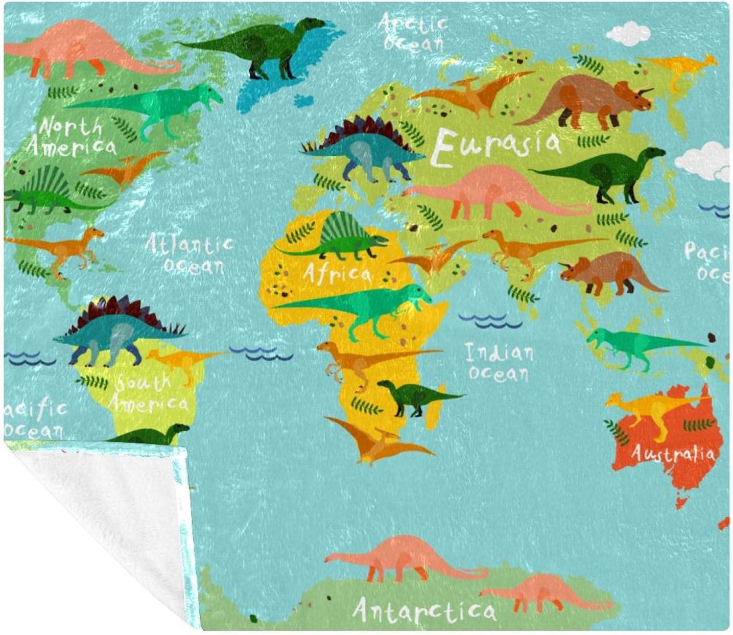 Dinosaur World Map Classic Antique Discount mail order Blanket Fleece Size Decorative Twin