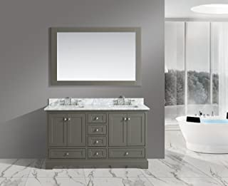 distressed wood double sink vanity