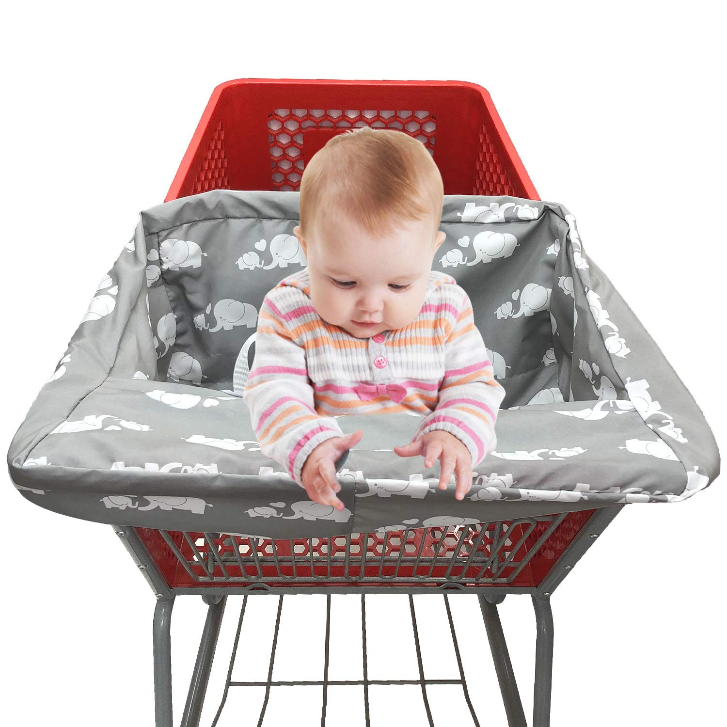 Portable Shopping Cart Seat Cover | High Chair and Grocery Cart Covers for Babies, Kids, Infants & Toddlers ✮ 2-in-1 Design ✮ Includes Free Carry Bag ✮ (Simple White Elephant)