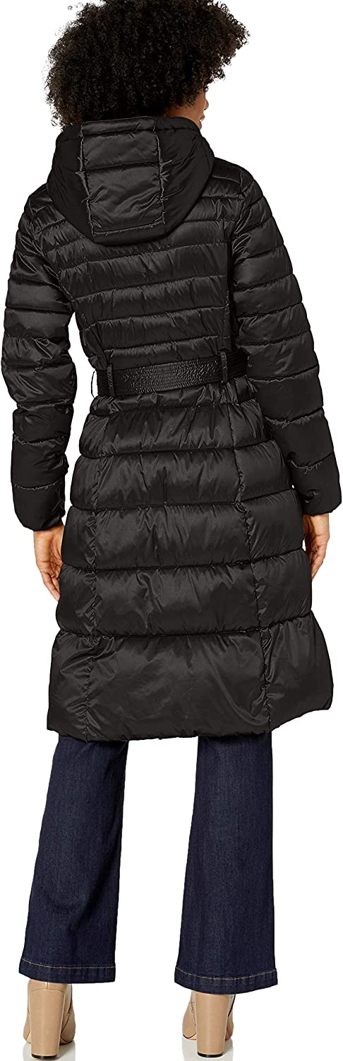 Cole Haan womens Sateen Faux Down Belted Coat
